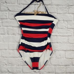 Tommy Bahama One Pc Red White Blue Swimsuit SZ 6